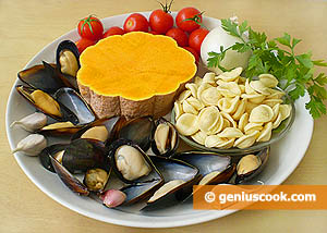 Ingredienti - Pasta, zucca e cozze
