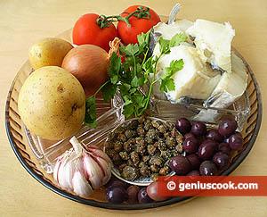 Ingredienti -Baccalà olive e capperi