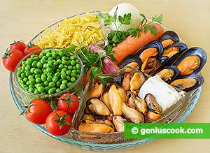 Ingredienti Pasta,piselli e cozze