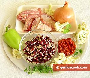 ingredienti brodo di poloo, fagioli e cavolfiore