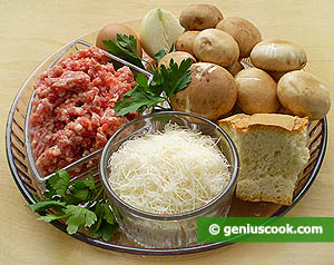 ingredienti pollpette di maiale e funghi