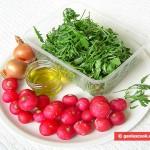 Ingredienti per insalata di rucola e ravanelli