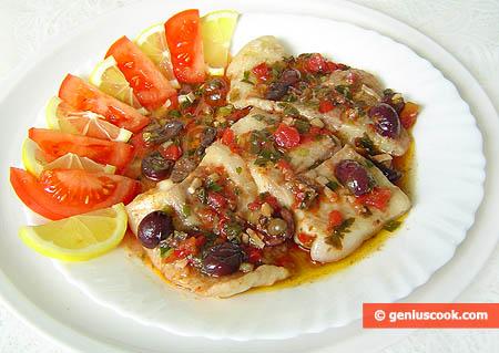 Filetti di Persico di mare olive e capperi