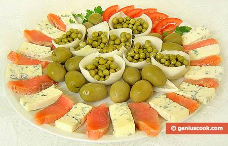 Antipasto di Trota marinata e formaggio Gorgonzola