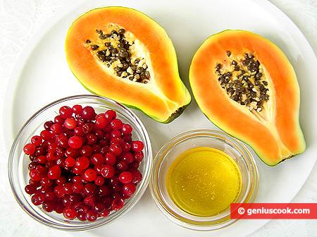 Ingredienti per il dessert di papaia