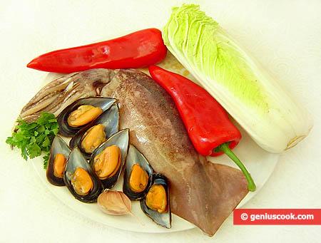 Ingredienti per i calamari ripieni