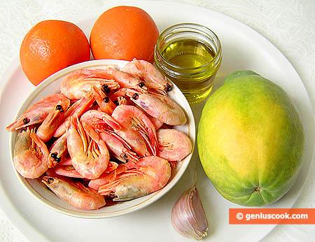 Ingredienti per l'antipasto di Papaya e gamberi