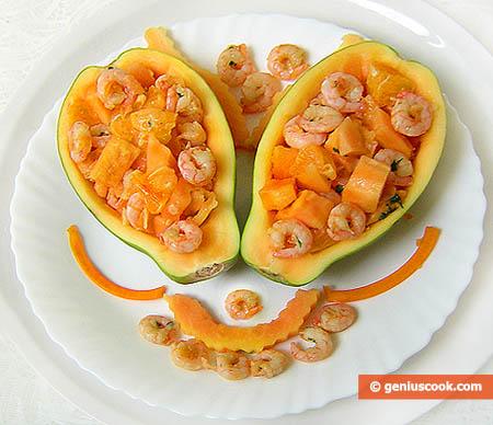 Antipasto di Papaya e gamberetti