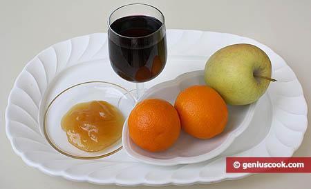 Ingredienti per l'Affogato di frutta in vino rosso