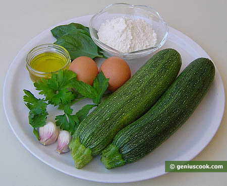 Ingredienti per le frittelle (crepes) con zucchini