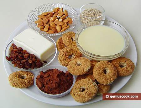 Ingredienti per i dolcetti di mandorle e cioccolato