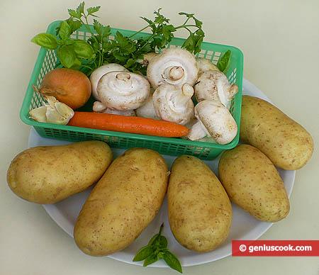 Ingredienti per le patate ripiene con funghi