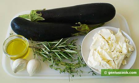 Ingredienti per gli involtini di melanzane al formaggio fresco