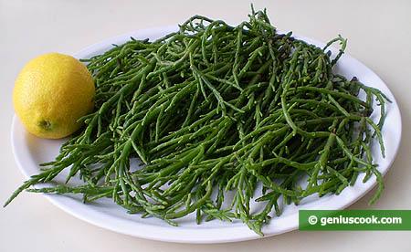 Ingredienti per l'insalata di asparagi di mare