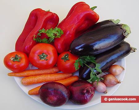 Ingredienti per la caponata di ortaggi