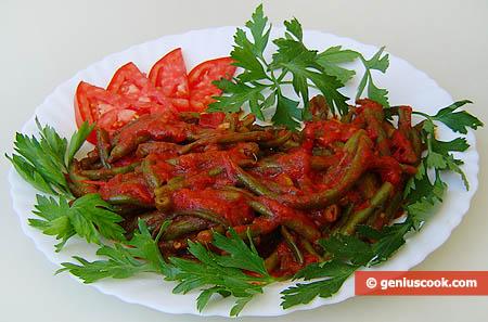 Fagiolini verdi (cornetti) al pomodoro