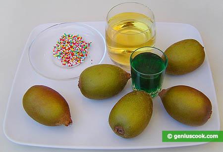 ingredienti per il cocktail di menta, kiwi e vino bianco