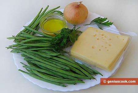 ingredienti per i fagiolini verdi al formaggio