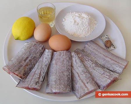 ingredienti per il pesce sciabola in pastella