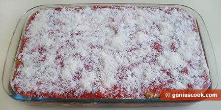 Teglia di parmigiana di melanzane da infornare