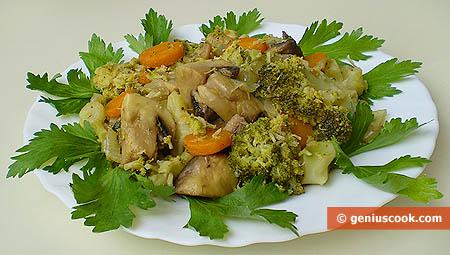 Stufato di broccoli e funghi al vino