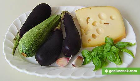 ingredienti per le fette di melanzane e zucchini al formaggio