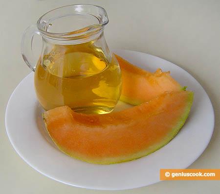 ingredienti per il dessert di melone in vino bianco