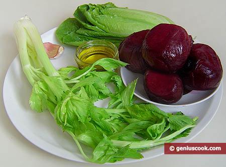 ingredienti per l'insalata di barbabietola rossa e sedano