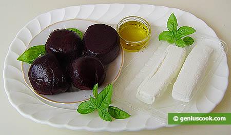 ingredienti per l'antipasto di formaggio caprino e barbabietole