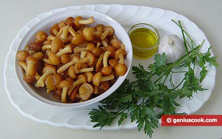 ingredienti per i funghi chiodini, trifolati