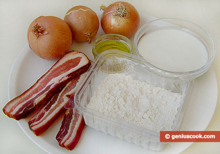ingredienti per la focaccia alla panna e pancetta affumicata