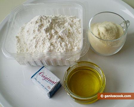 Ingredienti per il Pane, all'olio, con semola