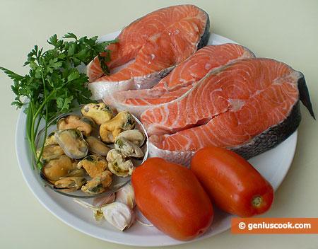 ingredienti per il Salmone con le cozze