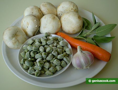 ingredienti per gli gnocchetti di ricotta e spinaci con salsa di panna e funghi