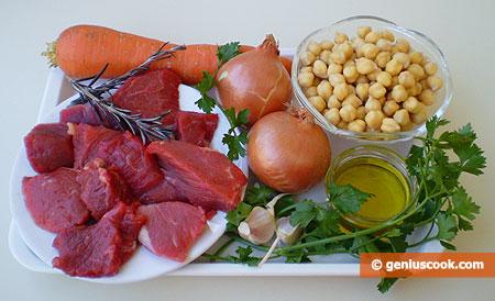 ingredienti per lo Spezzatino di vitellone con i ceci