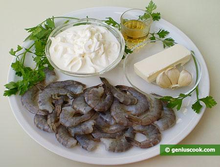 ingredienti per le mazzancolle al whisky in salsa alla panna