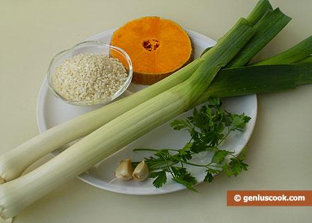 ingredienti per il Risotto, porri e zucca