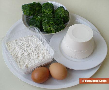 ingredienti per i Ravioli con ricotta e spinaci