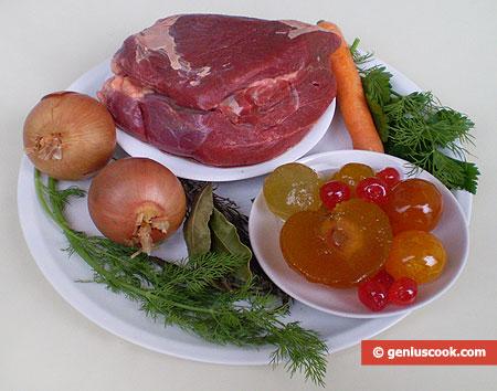 Ingredienti per il Bollito di manzo o vitellone con mostarda di frutta