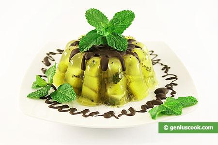 Kiwi in gelatina alla menta fresca
