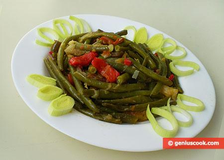 Fagiolini verdi, freschi, in salsa di ortaggi