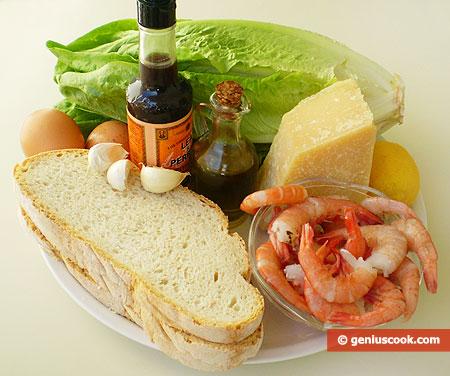 Ingredienti per l'Insalata Caesar con gamberi