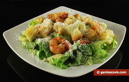 рецепт салата цезарь креветками фото