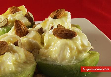 "dessert di ""Kiwi, miele, formaggio Philadelphia e mandorle"""