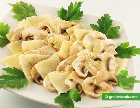 Ingredienti per il Carpaccio di funghi e formaggio parmigiano