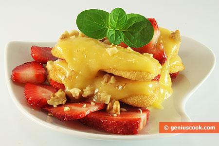 Dessert di Crame al limone con le fragole
