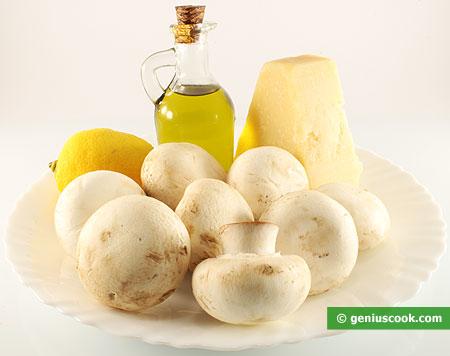 Ingredienti per il Carpaccio di Funghi e Formaggio Parmigiano Reggiano