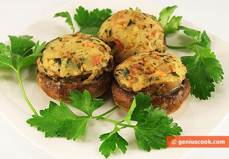 Funghi ripeni con patate e pancetta affumicata