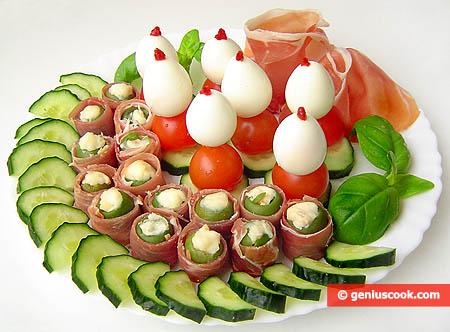 Antipasto Pasquale uova, olive