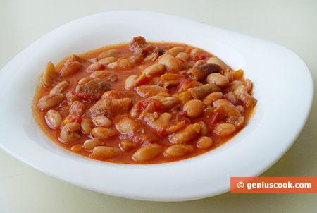 Fagioli freschi in salsa con funghi porcini